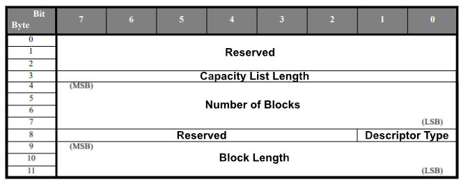 Read Format Capacity reply structure